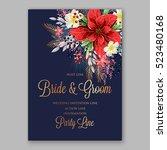 red poinsettia wedding...   Shutterstock .eps vector #523480168