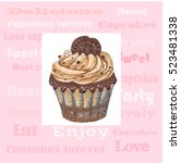 illustration with cupcake. | Shutterstock . vector #523481338