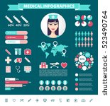 vector medical infographic set. ... | Shutterstock .eps vector #523490764