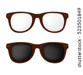 hipster brown color glasses and ... | Shutterstock .eps vector #523501849
