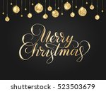 merry christmas card with... | Shutterstock .eps vector #523503679