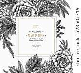 floral wedding invitation....   Shutterstock .eps vector #523505719