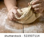 fresh raw dough and bakers... | Shutterstock . vector #523507114