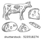 pieces of cheese and cow. black ... | Shutterstock .eps vector #523518274