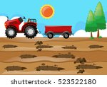 farm scene with tractor in the... | Shutterstock .eps vector #523522180