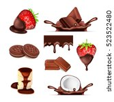 chocolate set. sweet icons | Shutterstock . vector #523522480