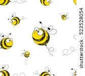 bees seamless pattern. vector... | Shutterstock .eps vector #523528054