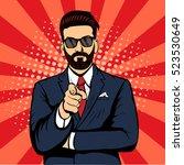 hipster beard businessman... | Shutterstock .eps vector #523530649