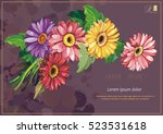 happy birthday card with... | Shutterstock .eps vector #523531618