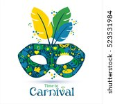 bright carnival icons mask and... | Shutterstock . vector #523531984