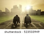 back view of two businessmen... | Shutterstock . vector #523533949