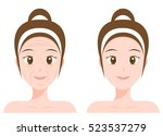 vector portrait  woman face ... | Shutterstock .eps vector #523537279