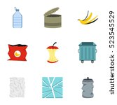 trash icons set. flat... | Shutterstock . vector #523545529