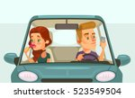 couple car driving. careless...   Shutterstock .eps vector #523549504