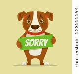 sorry dog character hold... | Shutterstock .eps vector #523555594