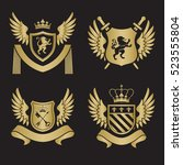 coat of arms   shield with... | Shutterstock .eps vector #523555804