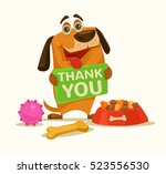 happy dog character hold plate... | Shutterstock .eps vector #523556530