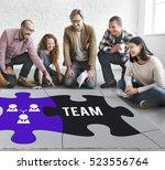 team building collaboration... | Shutterstock . vector #523556764