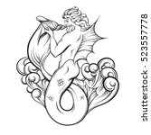 vector hand drawn illustration... | Shutterstock .eps vector #523557778