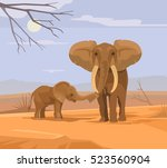 two elephants characters in... | Shutterstock .eps vector #523560904