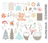 big set of christmas symbols ... | Shutterstock .eps vector #523560988