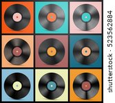 vinyl records. retro lp discs... | Shutterstock .eps vector #523562884