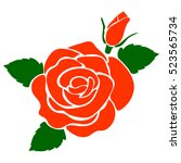 silhouette of rose on a white...   Shutterstock .eps vector #523565734