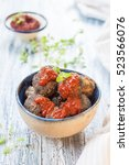 meatballs of ground beef with... | Shutterstock . vector #523566076