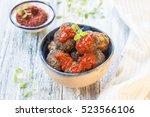 meatballs of ground beef with... | Shutterstock . vector #523566106