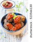 meatballs of ground beef with... | Shutterstock . vector #523566130