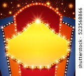 retro stage shining banner...   Shutterstock .eps vector #523568866