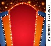 retro stage shining banner...   Shutterstock .eps vector #523568884