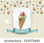 christmas ice creams  winter... | Shutterstock .eps vector #523572640