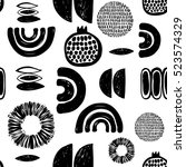 monochrome minimalistic tribal... | Shutterstock .eps vector #523574329