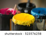 close up of serigraphy printing ... | Shutterstock . vector #523576258