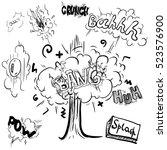 cartoon cloud icons in comic... | Shutterstock .eps vector #523576900