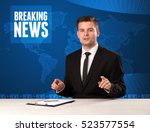 television presenter in front... | Shutterstock . vector #523577554