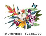 exotic floral composition | Shutterstock . vector #523581730