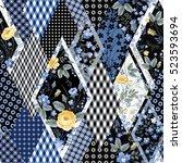 decorative seamless patchwork... | Shutterstock .eps vector #523593694