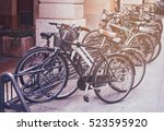 Bicycles Parked On A Street