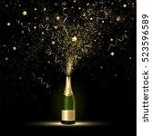 champagne splashes of gold... | Shutterstock .eps vector #523596589