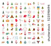christmas  new year holidays... | Shutterstock .eps vector #523598494