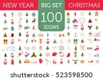 christmas  new year holidays... | Shutterstock .eps vector #523598500
