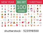 Christmas, New Year holidays icon big set. Xmas decoration. Flat style collection. Vector illustration