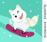 snowboarding cartoon arctic fox | Shutterstock .eps vector #523600750