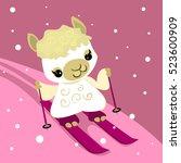 cute cartoon skiing alpaca | Shutterstock .eps vector #523600909