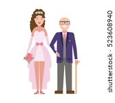 isolated bride with father on... | Shutterstock . vector #523608940