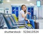 beautiful young tourist girl... | Shutterstock . vector #523613524