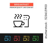 vector breakfast icon. coffee... | Shutterstock .eps vector #523615903
