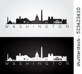 washington usa skyline and... | Shutterstock .eps vector #523623610